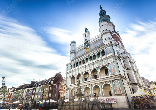 Historic Poznan City Hall located in the middle of a main square 75331408