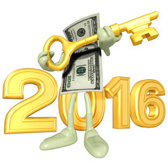 Money With Gold Key And The Year
