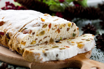 cheese Stollen with dried fruit and pistachios