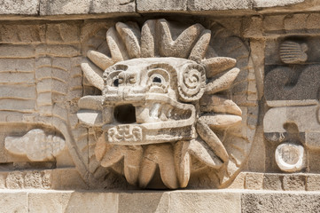 Detail of  the temple of Quetzalcoatl, Teotihuacan (Mexico)