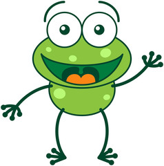 Green frog waving, greeting and welcoming enthusiastically