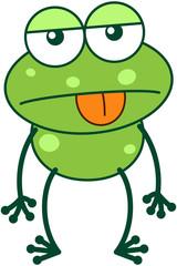 Green frog feeling apathetic