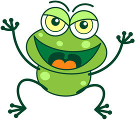 Green frog in mischievous attitude and jumping