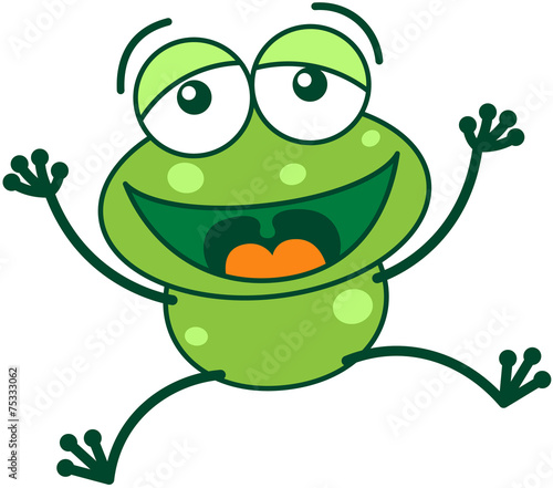 Green frog laughing, jumping and celebrating - 75333062