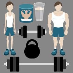 Vector set. Bodybuilding.
