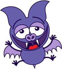 Purple bat laughing enthusiastically