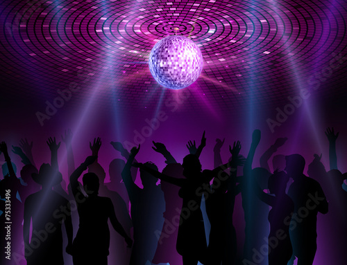 Disco ball background. Dancing people - 75333496