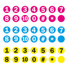 Top 10 - Ziffern Eins bis Zehn - Cyan, Magenta, Yellow