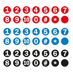 Top 10 - Ziffern Eins bis Zehn - rot, blau, schwarz