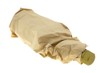 Bottle of alcohol in a paper bag