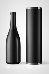 Back Bottle of Red Wine with Package