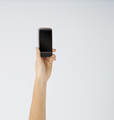 Woman holding modern mobile phone