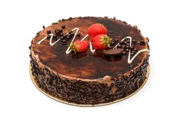 torta al cioccolato con glassa e fragole