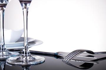 Gabel Messer Geschirr Weinglas