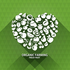 Organic food icons. Heart shape with organic vegetables and