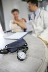 Blood pressure medical equipment set on table