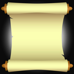 Paper & Wood Scroll Over a Dark Background