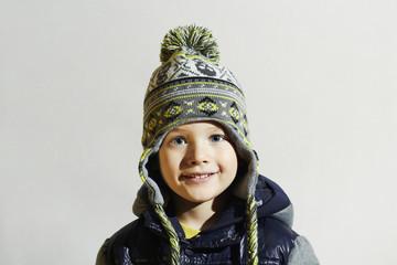 handsome little boy.funny smiling child.winter fashion kids