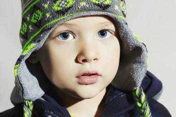 child with blue eyes.fashion kids.fashionable little boy