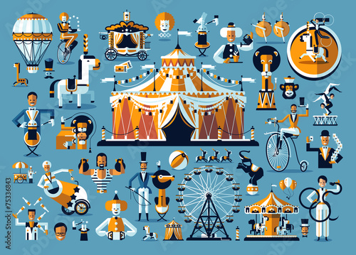 Circus. Colored icons collection - 75336843