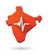 India map icon with a heart beat sign