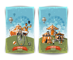 vintage circus poster, template, flyer, banner