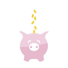Image piggy bank and coins. Without gradient.