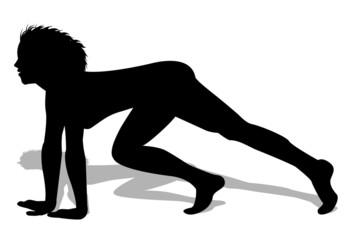 silhouette di donna pronta a correre