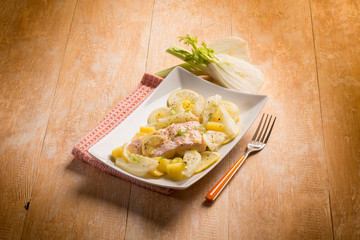 salmon with fennel and potatoes