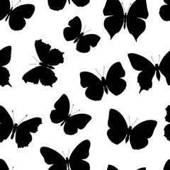 black-and-white seamless pattern butterfly