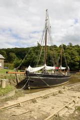 old sail boat on Tamar river, Cornwall