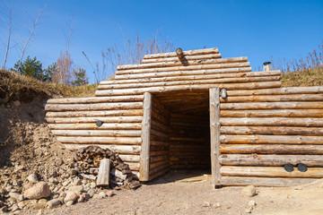 Wooden wall and open door of traditional underground sauna