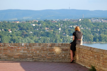 Woman Looking From Petrovaradin Fortress, Serbia