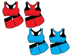 Vector illustration of women's sport underwear. Bra and shorts.