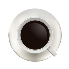 Top view of a coffee cup vector illustration