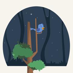 Blue bird in a tree illustration