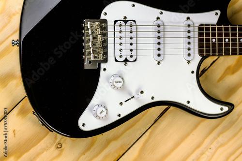 Fotobehang Muziek electric guitar on wooden background
