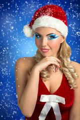 Santa Girl. Card Happy New Year