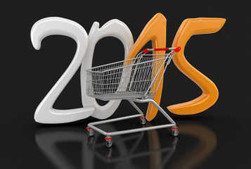Shopping Cart and 2015 (clipping path included)