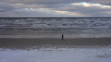 Man goes on winter sandy beach of the Baltic Sea