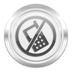 no phone metallic icon no calls sign