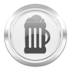 beer metallic icon mug sign