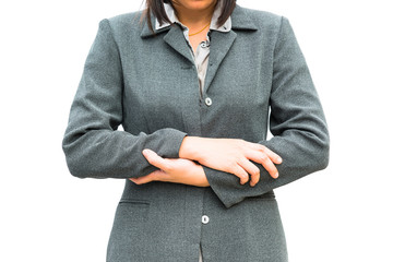 Businessman standing posture show hand with the close posture