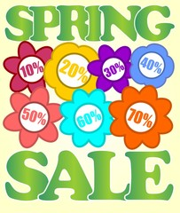 Spring sale billboard with colorful flowers and percent labels