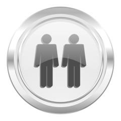 couple metallic icon people sign team symbol