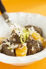 Beef pilaf with orange