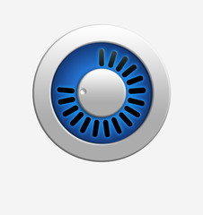 Blue volume knob with bright illumination.