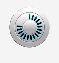 Metallic volume knob with bright illumination.