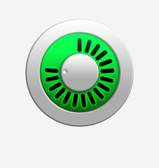 Green volume knob with bright illumination.