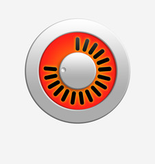 Orange volume knob with bright illumination.